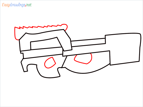 how to draw P90 GUN step (5)