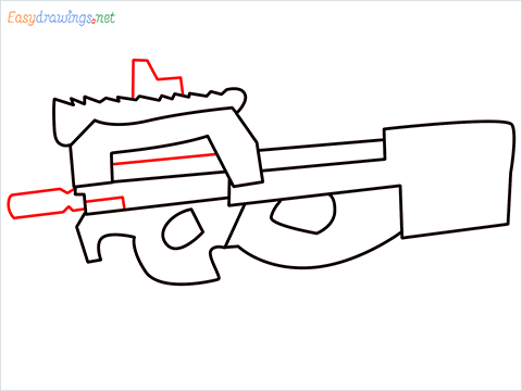 how to draw P90 GUN step (6)