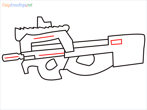 how to draw P90 GUN step (7)