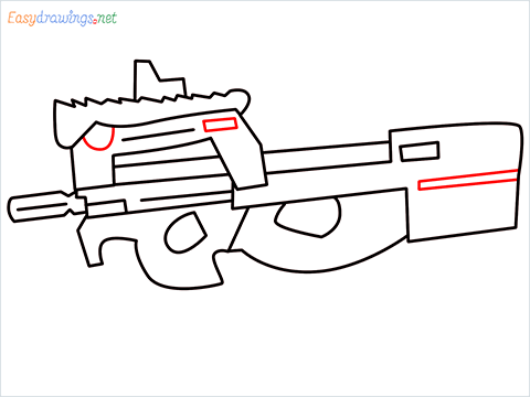 how to draw P90 GUN step (8)