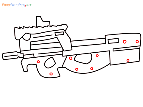 how to draw P90 GUN step (9)