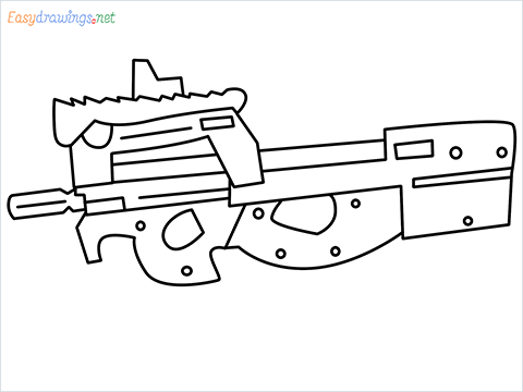 how to draw P90 GUN step by step for beginners
