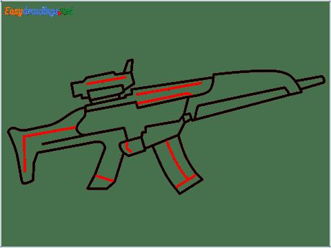 how to draw XM8 GUN step (8)