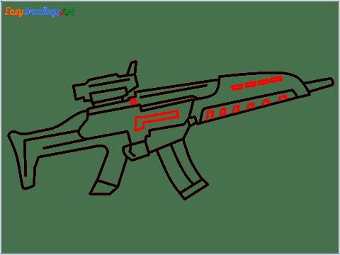 how to draw XM8 GUN step (9)
