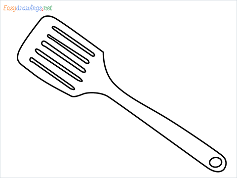 how to draw a Spatula step by step for beginners