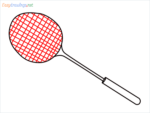 how to draw a badminton racket step (5)