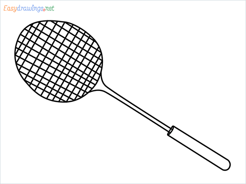 how to draw a badminton racket step by step for beginners