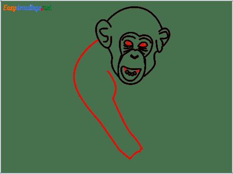 how to draw a chimpanzee step (7)