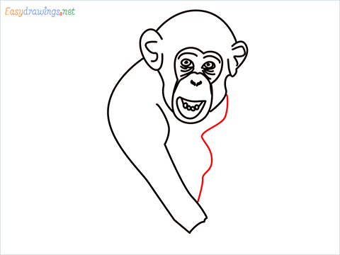 how to draw a chimpanzee step (8)