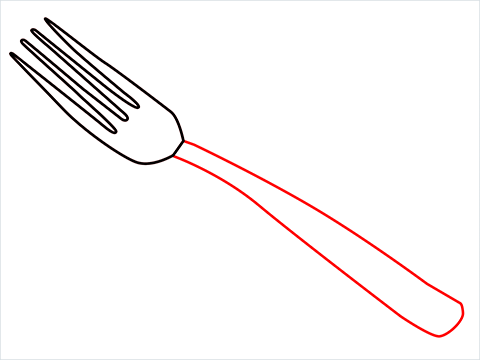 how to draw a fork step (3)
