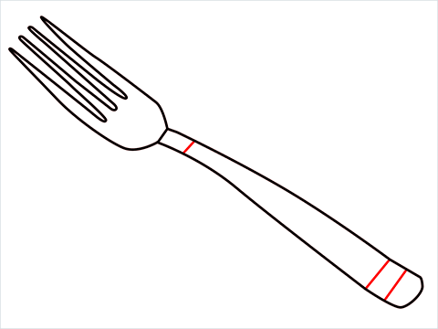 how to draw a fork step (4)
