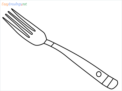how to draw a fork step by step for beginners