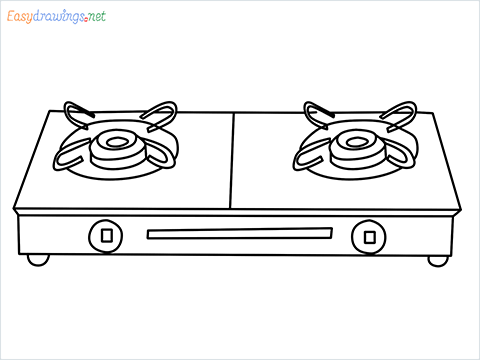 how to draw a gas stove step by step for beginners