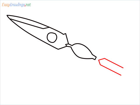 how to draw a kitchen shears step (4)