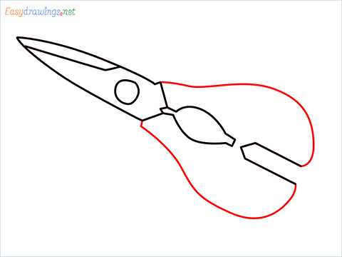 how to draw a kitchen shears step (5)