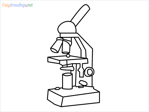 how to draw a microscope step by step for beginners