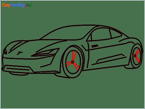 how to draw a tesla car step (13)