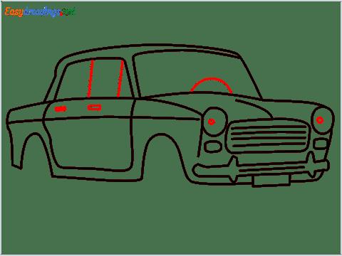 how to draw fiat premier padmini car step (10)