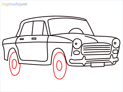 how to draw fiat premier padmini car step (11)