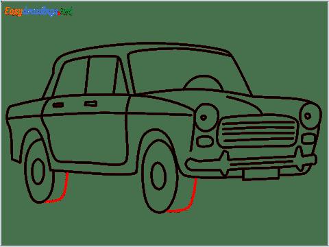 how to draw fiat premier padmini car step (12)
