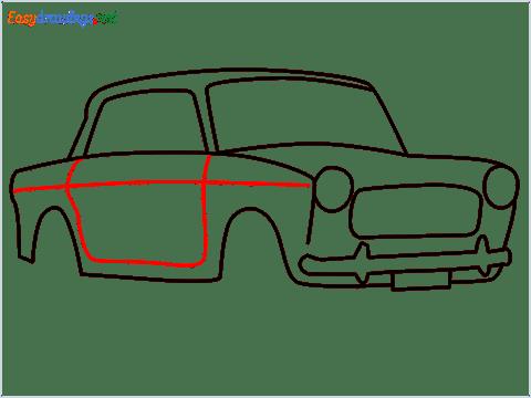 how to draw fiat premier padmini car step (8)