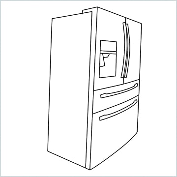 Draw A Double door refrigerator easy
