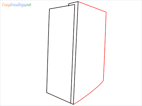 How To Draw A Double door refrigerator Step (3)