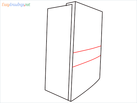 How To Draw A Double door refrigerator Step (4)