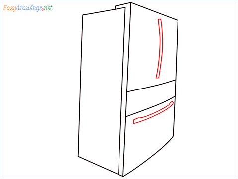 How To Draw A Double door refrigerator Step (5)
