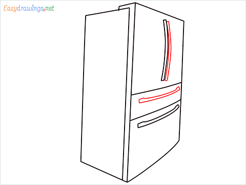 How To Draw A Double door refrigerator Step (6)