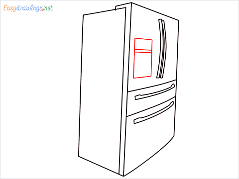 How To Draw A Double door refrigerator Step (7)