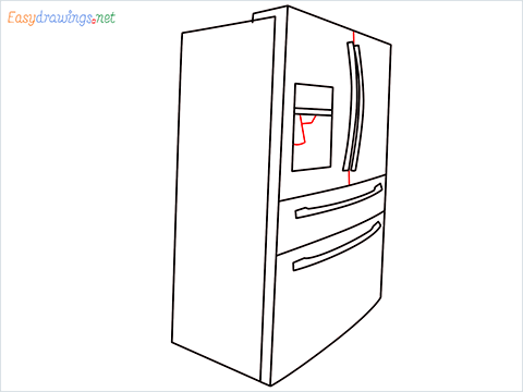 How To Draw A Double door refrigerator Step (8)