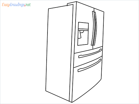 How To Draw A Double door refrigerator Step by Step