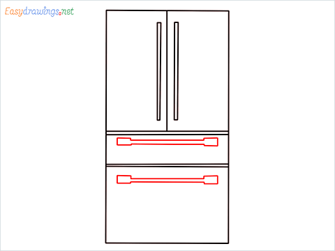 How To Draw refrigerator from front view example 2 Step (6)