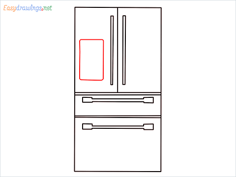 How To Draw refrigerator from front view example 2 Step (7)