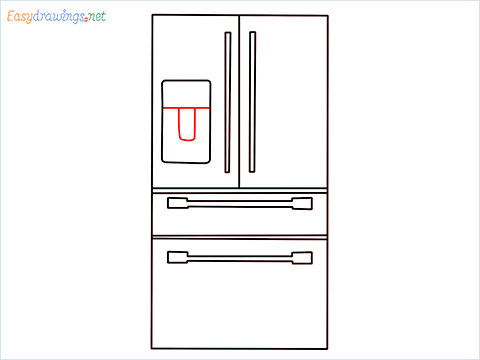 How To Draw refrigerator from front view example 2 Step (8)