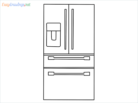 How To Draw refrigerator from front view example 2 Step by Step