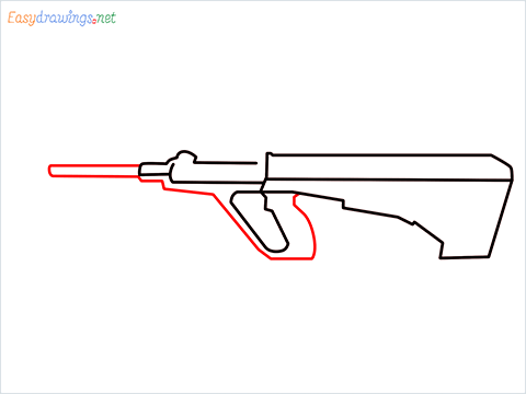 How to draw AUG gun step (4)
