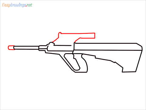 How to draw AUG gun step (5)