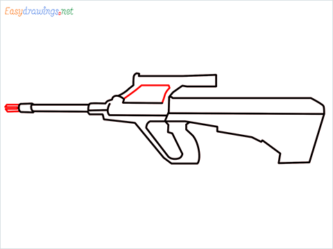 How to draw AUG gun step (6)