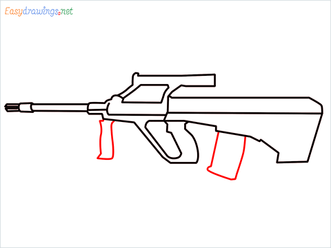 How to draw AUG gun step (7)