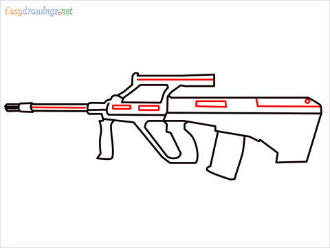 How to draw AUG gun step (8)