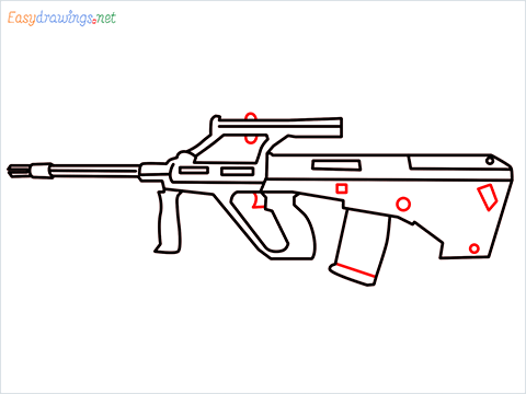 How to draw AUG gun step (9)