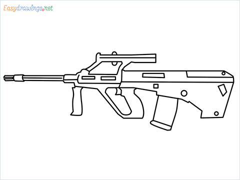 How to draw AUG gun step by step for beginners