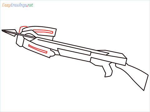 How to draw CROSSBOW step (7)