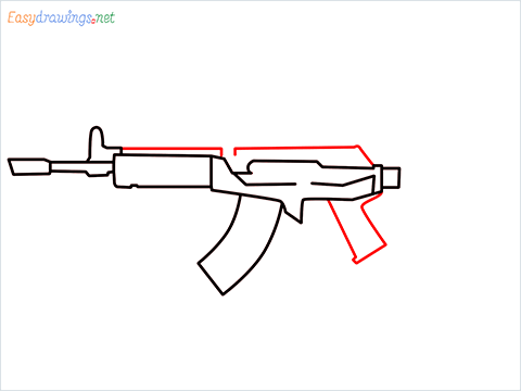 How to draw Cr 56 amax gun from Call of Duty step (5)