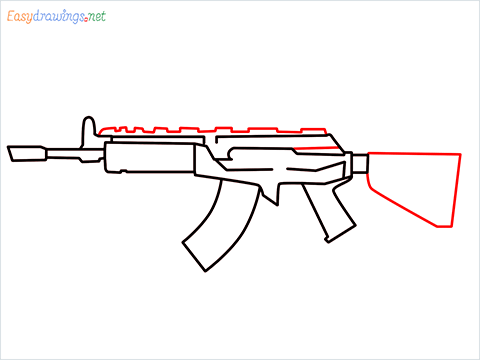 How to draw Cr 56 amax gun from Call of Duty step (6)