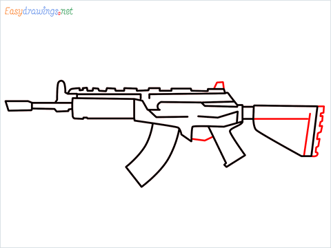 How to draw Cr 56 amax gun from Call of Duty step (7)