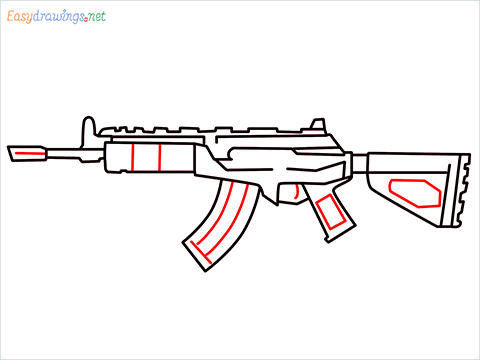 How to draw Cr 56 amax gun from Call of Duty step (8)