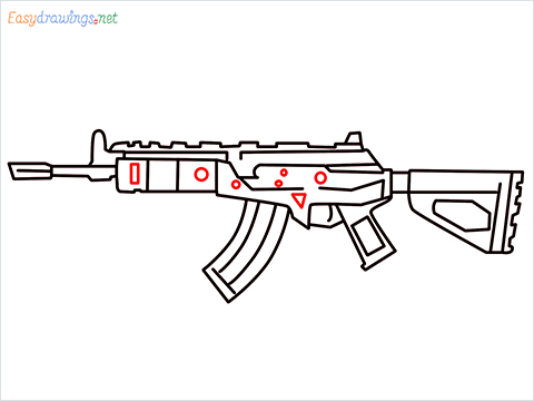How to draw Cr 56 amax gun from Call of Duty step (9)